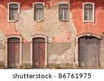 abandoned facade with wood... | Shutterstock . vector #86761975
