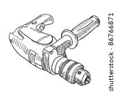 illustration drill with handle | Shutterstock . vector #86766871