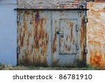 Old Rusty Garage Doors Closed