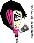 cartoon girl taking photo of... | Shutterstock .eps vector #86799205
