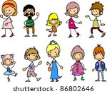 doodle members of large families | Shutterstock .eps vector #86802646