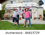 portrait of happy young family... | Shutterstock . vector #86815729