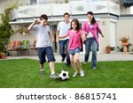 cute kids playing football with ... | Shutterstock . vector #86815741