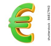 green euro symbol isolated on...
