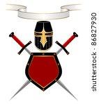 banner  knightly helmet  shield ...   Shutterstock . vector #86827930