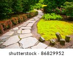 Path in Japanese garden - stock photo