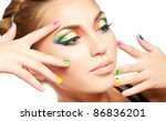 woman face with rainbow makeup | Shutterstock . vector #86836201