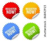 vector register now sticker... | Shutterstock .eps vector #86842915