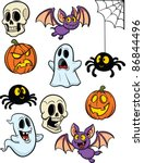 cartoon halloween elements.... | Shutterstock .eps vector #86844496