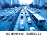 rush hour traffic in beijing,China - stock photo