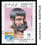 Small photo of SAHARA OCC RASD - CIRCA 1992: A stamp printed in Sahara OCC. R.A.S.D shows portrait of Ponce De Leon, circa 1992