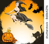 halloween set  pretty  witch on ... | Shutterstock .eps vector #86864296