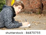lying male student learning by... | Shutterstock . vector #86870755