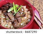 twice cooked beef stir fry rice - stock photo