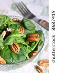 walnut and spinach salad bowl - stock photo