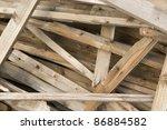 detail of broken wood stales - stock photo