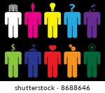 people thinking about different ... | Shutterstock .eps vector #8688646
