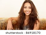 cheerful elegant smiling woman... | Shutterstock . vector #86918170