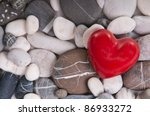 Red Heart Among River Pebble...