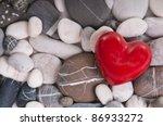 Red Heart Among River Pebble...