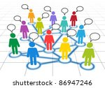 Schematic view of a social networking members with blank text clouds - stock vector