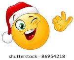 Winking Emoticon Wearing Santa...