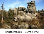 Phenomenon of nature – Stolowe ( Table ) Mountains – rock formations in National Park – Poland near Pasterka village. - stock photo