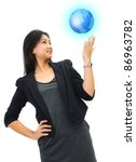 young business woman looking the world with hand - stock photo