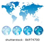 blue map of the world and... | Shutterstock . vector #86974700