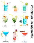 cocktails collection collage... | Shutterstock . vector #86982062
