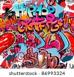 graffity wall. hip hop art... | Shutterstock .eps vector #86993324