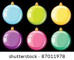 Christmas balls. Set of color spheres on a white background. - stock vector