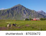 Red church in Flakstad on Lofoten Islands, Norway - stock photo