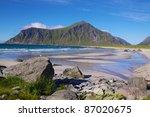 Sandy beach near Flakstad on Lofoten Islands, Norway - stock photo