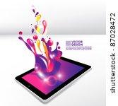 color splash from tablet... | Shutterstock .eps vector #87028472