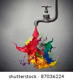 tap dripping colored paint | Shutterstock . vector #87036224