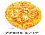 tasty shrimp pizza on white... | Shutterstock . vector #87045794