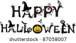 happy halloween text  isolated... | Shutterstock .eps vector #87058007