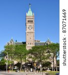 Small photo of Lowell City Hall is a Romanesque Revival style architecture in downtown Lowell, Massachusetts, USA