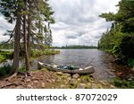 canoe ready to set off on sitka ... | Shutterstock . vector #87072029