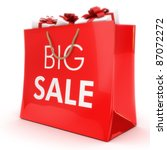 Big sale ,gift bag with gifts, Part of a series - stock photo