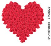 heart from red roses on a white ... | Shutterstock . vector #8708029