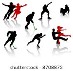 silhouettes of people on a... | Shutterstock .eps vector #8708872