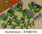 garbage bin collector truck... | Shutterstock .eps vector #87088754