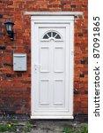 white front door of a red brick ... | Shutterstock . vector #87091865