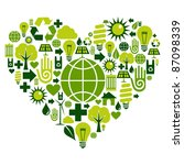 Heart with environmental icons in green . Vector file available. - stock vector