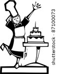 Woman chef baking a three tiered birthday cake - stock vector