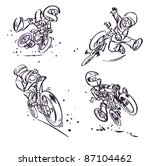 cartoon mountain bikers | Shutterstock .eps vector #87104462
