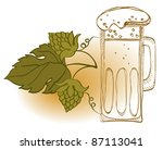 mug of beer and hop plant ... | Shutterstock .eps vector #87113041
