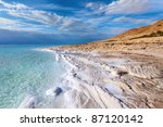 Stock photo view of dead sea coastline 87120142